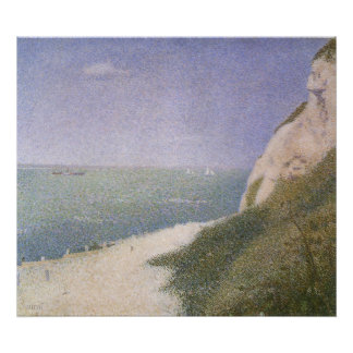 Vintage Pointillism, Beach at Honfleur by Seurat Poster