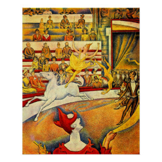 Vintage Pointillism Fine Art, The Circus by Seurat Poster