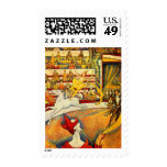 Vintage Pointillism Fine Art, The Circus by Seurat Stamps