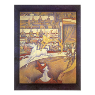 Vintage Pointillism, The Circus by Georges Seurat 4.25x5.5 Paper Invitation Card