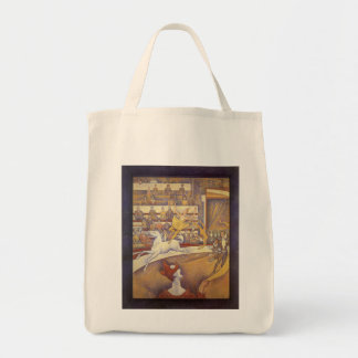 Vintage Pointillism, The Circus by Georges Seurat Grocery Tote Bag