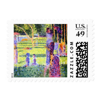 Vintage Pointillism, The Couple by Georges Seurat Postage Stamp