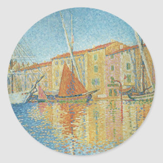 Vintage Pointillism, The Red Buoy by Paul Signac Classic Round Sticker