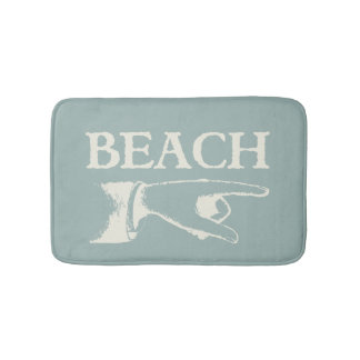 Vintage Pointing Beach Sign Bathroom Mat