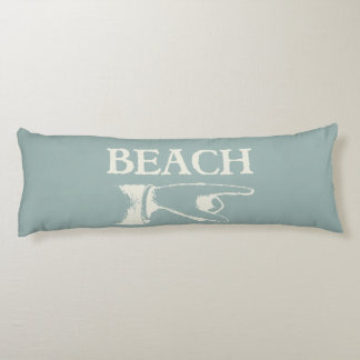 Vintage Pointing Beach Sign Body Pillow