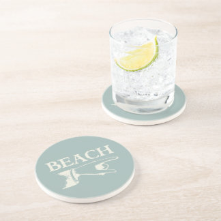 Vintage Pointing Beach Sign Coaster