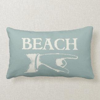 Vintage Pointing Beach Sign Lumbar Pillow