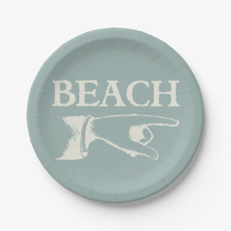 Vintage Pointing Beach Sign Paper Plate