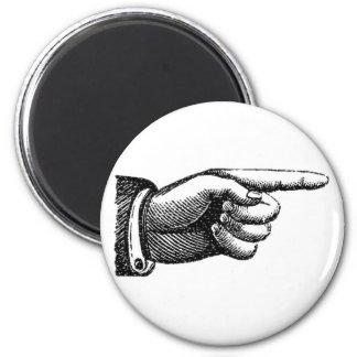 vintage pointing finger magnet, housewarming magnet