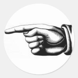 Vintage pointing hand 2 classic round sticker