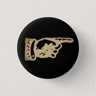 Vintage Pointing Hand - dark Pinback Button