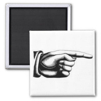 vintage pointing hand right magnet