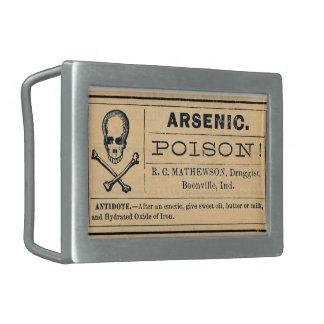 Vintage Poison Arsenic Label Skull Belt Buckle