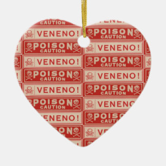 Vintage Poison Labels Double-Sided Heart Ceramic Christmas Ornament