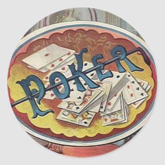 Vintage Poker Mens Smoking Room Gambling Classic Round Sticker
