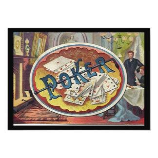Vintage Poker Mens Smoking Room Gambling 5x7 Paper Invitation Card
