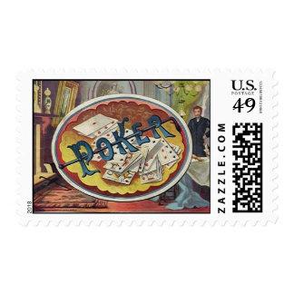 Vintage Poker Mens Smoking Room Gambling Postage Stamp