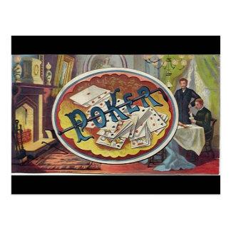 Vintage Poker Mens Smoking Room Gambling Postcard