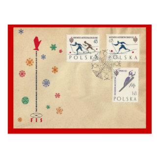 Vintage  Poland, First Day Cover, Winter Sports Postcard