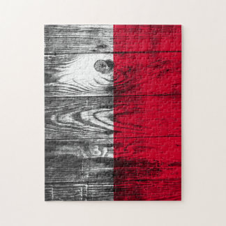 Vintage Poland national flag wood puzzle