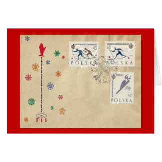 Vintage Poland, Ski stamps, first day cover Card