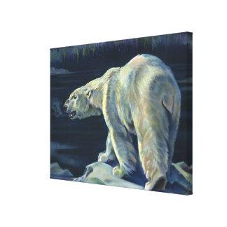 Vintage Polar Bear, Arctic Marine Life Animals Canvas Print
