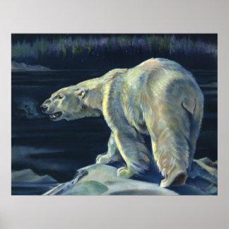 Vintage Polar Bear, Arctic Marine Life Animals Poster