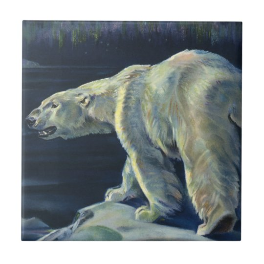 Vintage Polar Bear, Arctic Marine Life Animals Tile