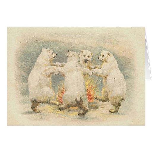 Vintage - Polar Bears in Celebration Greeting Card