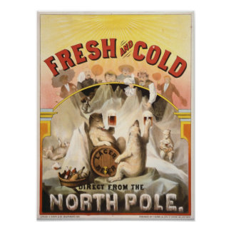 Vintage Polar Bears,Lager Beer Advertisement Print