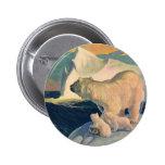Vintage Polar Bears on Iceberg, Wild Arctic Animal 2 Inch Round Button