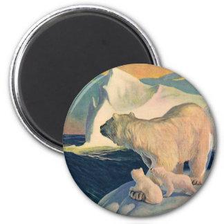 Vintage Polar Bears on Iceberg, Wild Arctic Animal 2 Inch Round Magnet