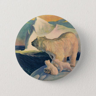 Vintage Polar Bears on Iceberg, Wild Arctic Animal Button