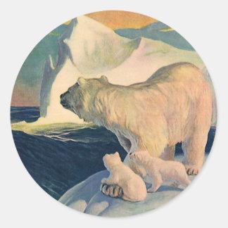Vintage Polar Bears on Iceberg, Wild Arctic Animal Classic Round Sticker