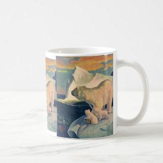 Vintage Polar Bears on Iceberg, Wild Arctic Animal Coffee Mug
