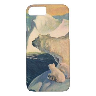 Vintage Polar Bears on Iceberg, Wild Arctic Animal iPhone 7 Case