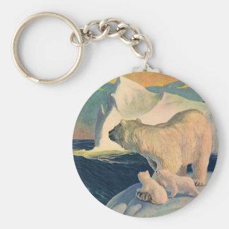 Vintage Polar Bears on Iceberg, Wild Arctic Animal Keychain