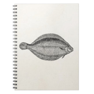 Vintage Pole Flounder Fish Personalized Template Spiral Notebook