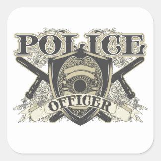 Vintage Police Officer Square Sticker