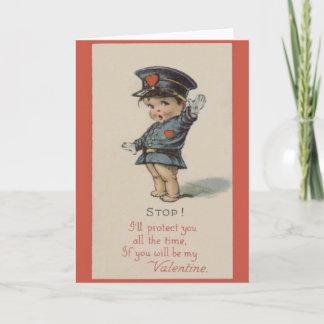 Vintage Police Officer Valentine Holiday Card