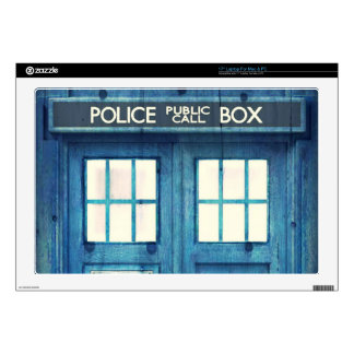 "Vintage Police phone Public Call Box 17"" Laptop Skins"