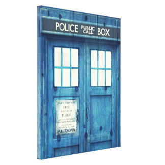 Vintage Police phone Public Call Box Stretched Canvas Print