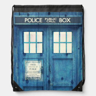 Vintage Police phone Public Call Box Drawstring Backpack