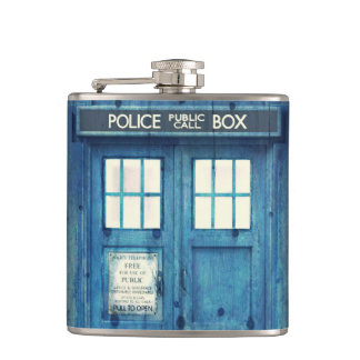Vintage Police phone Public Call Box Flask