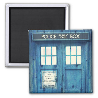 Vintage Police phone Public Call Box 2 Inch Square Magnet