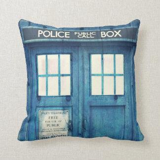 Vintage Police phone Public Call Box Throw Pillows