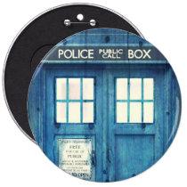 vintage, funny, police public call box, geek, retro, cool, police, humor, british, phone box, urban, nerd, movie, phone, england, london, button, Button with custom graphic design