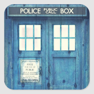 Vintage Police phone Public Call Box Square Sticker