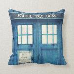 Vintage Police phone Public Call Box Throw Pillow