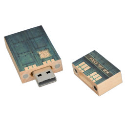 Vintage Police phone Public Call Box Wood USB Flash Drive